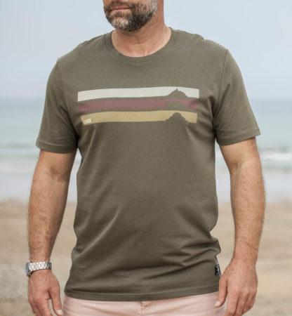 T-shirt mendee kaki baskinside conton bio local